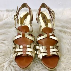 Michael Kors Gold and Maroon Heel Sandals. 10